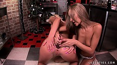 Christmas time of cheer with a big dildo pounding both holes