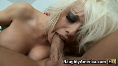 Slutty blonde Britney Amber sucks on his manly meat and gets pussy licked