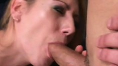Sweet chick is riding black cock and sucking tasty white penis